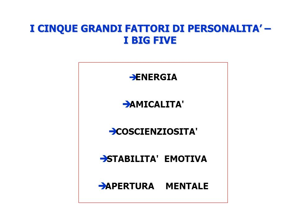 I CINQUE GRANDI FATTORI DI PERSONALITA – I BIG FIVE ENERGIA AMICALITA COSCIENZIOSITA STABILITA EMOTIVA APERTURA MENTALE