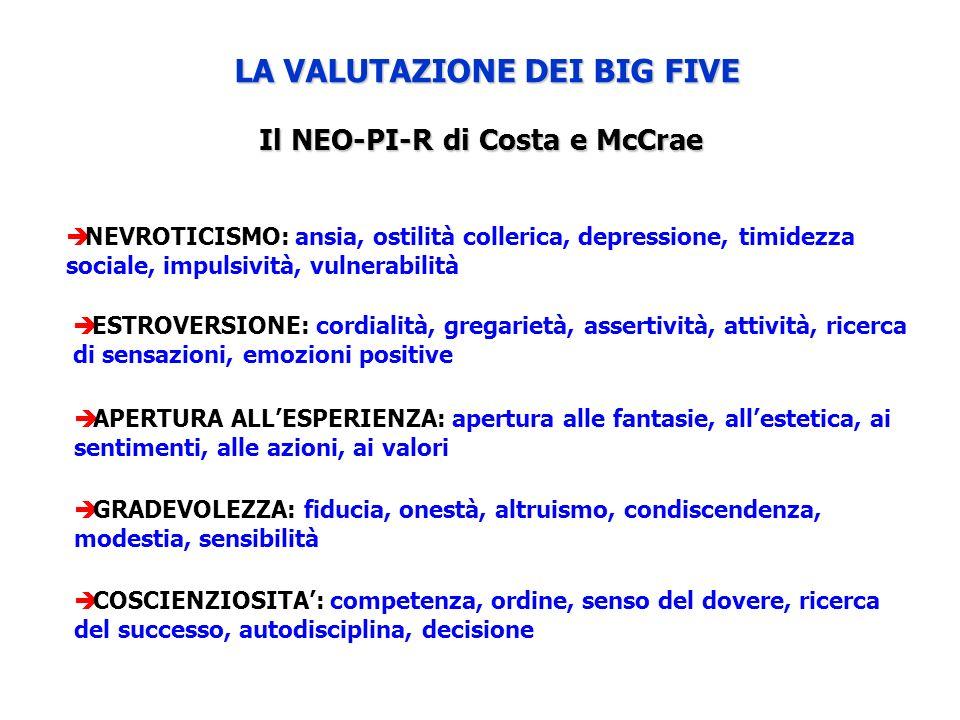 LA VALUTAZIONE DEI BIG FIVE Il NEO-PI-R di Costa e McCrae ESTROVERSIONE: cordialità, gregarietà, assertività, attività, ricerca di sensazioni, emozion