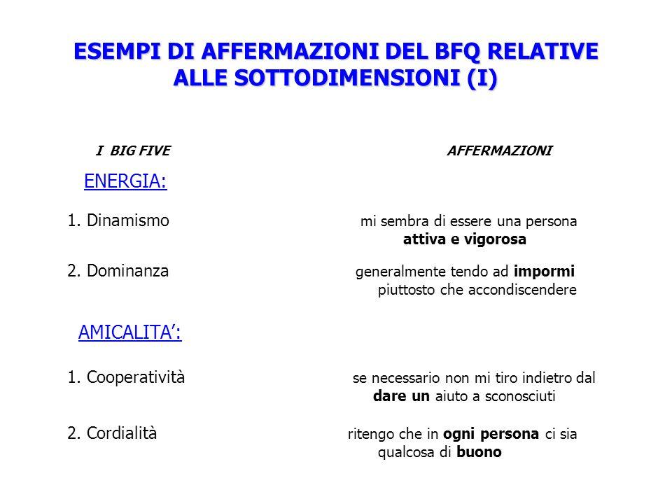 ESEMPI DI AFFERMAZIONI DEL BFQ RELATIVE ALLE SOTTODIMENSIONI (I) I BIG FIVE AFFERMAZIONI ENERGIA: 1.