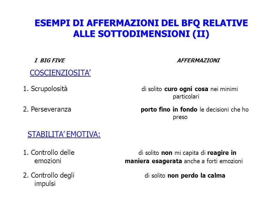 ESEMPI DI AFFERMAZIONI DEL BFQ RELATIVE ALLE SOTTODIMENSIONI (II) I BIG FIVE AFFERMAZIONI COSCIENZIOSITA 1. Scrupolosità di solito curo ogni cosa nei