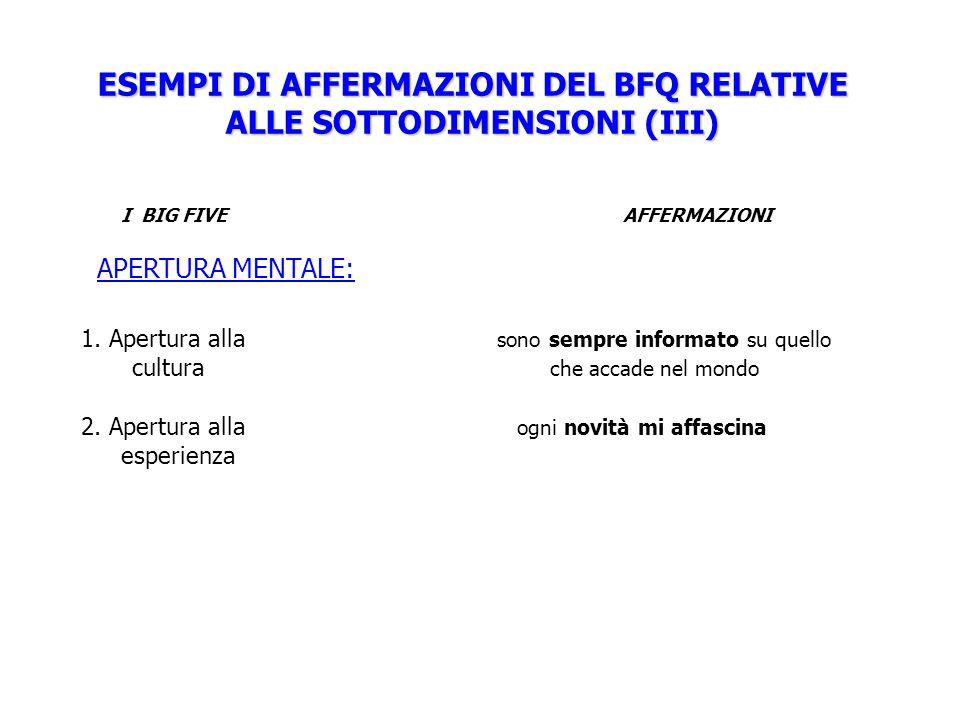 ESEMPI DI AFFERMAZIONI DEL BFQ RELATIVE ALLE SOTTODIMENSIONI (III) I BIG FIVE AFFERMAZIONI APERTURA MENTALE: 1. Apertura alla sono sempre informato su