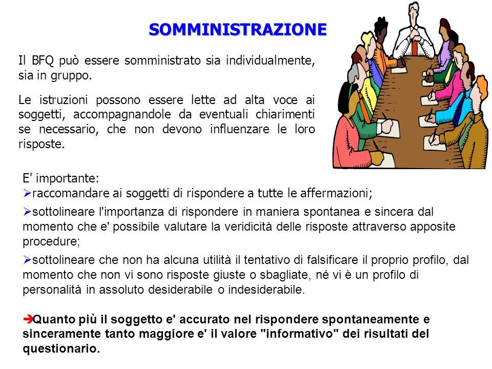 SOMMINISTRAZIONE E' importante: raccomandare ai soggetti di rispondere a tutte le affermazioni; sottolineare l'importanza di rispondere in maniera spo