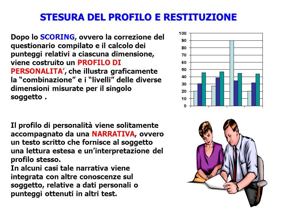 STESURA DEL PROFILO E RESTITUZIONE Dopo lo SCORING, ovvero la correzione del questionario compilato e il calcolo dei punteggi relativi a ciascuna dime