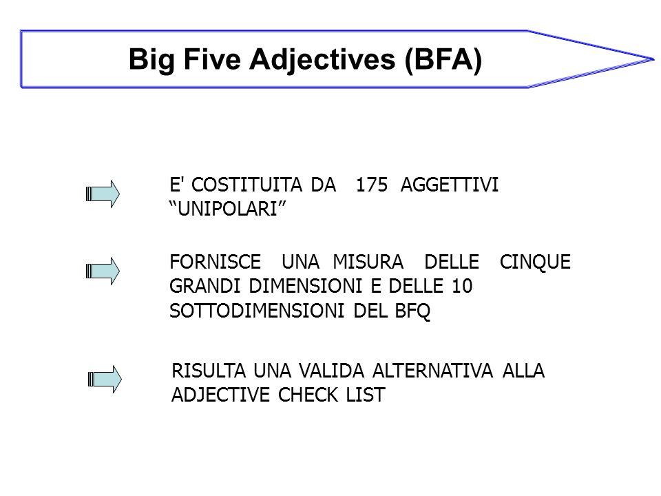 Big Five Adjectives (BFA) E COSTITUITA DA 175 AGGETTIVI UNIPOLARI FORNISCE UNA MISURA DELLE CINQUE GRANDI DIMENSIONI E DELLE 10 SOTTODIMENSIONI DEL BFQ RISULTA UNA VALIDA ALTERNATIVA ALLA ADJECTIVE CHECK LIST