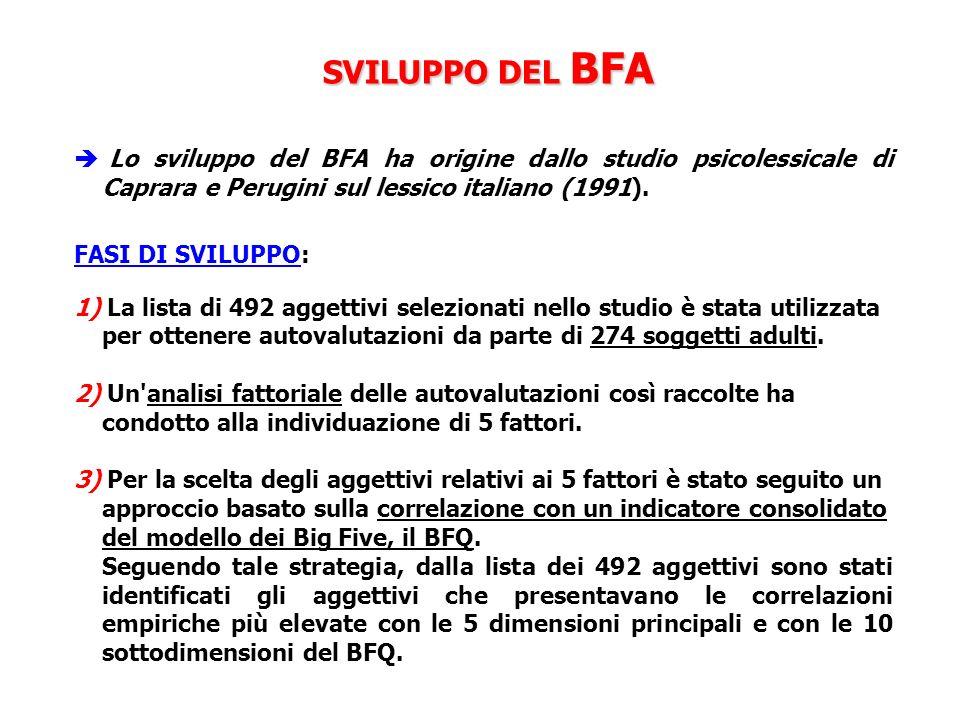 SVILUPPO DEL BFA Lo sviluppo del BFA ha origine dallo studio psicolessicale di Caprara e Perugini sul lessico italiano (1991). FASI DI SVILUPPO: 1) La