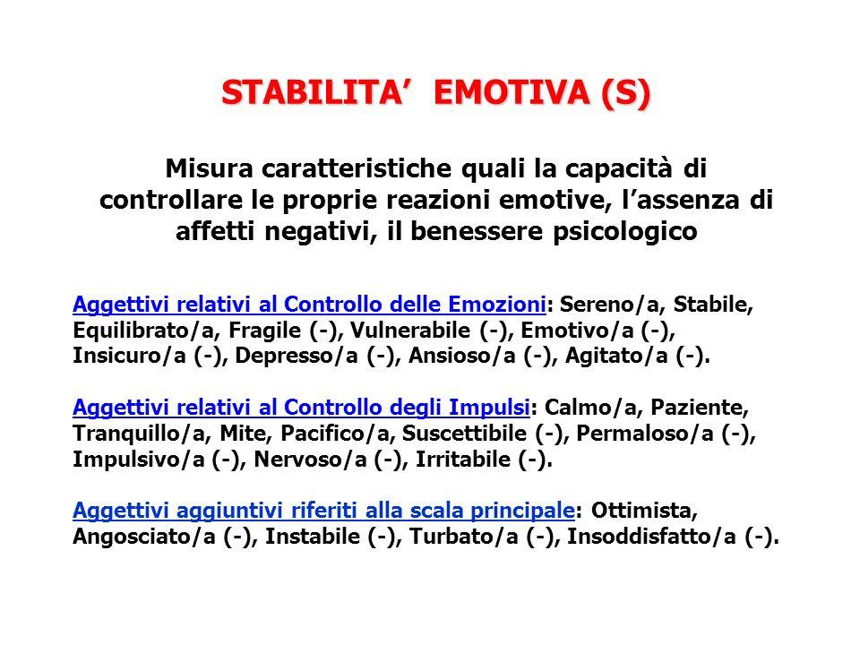 STABILITA EMOTIVA (S) STABILITA EMOTIVA (S) Misura caratteristiche quali la capacità di controllare le proprie reazioni emotive, lassenza di affetti n