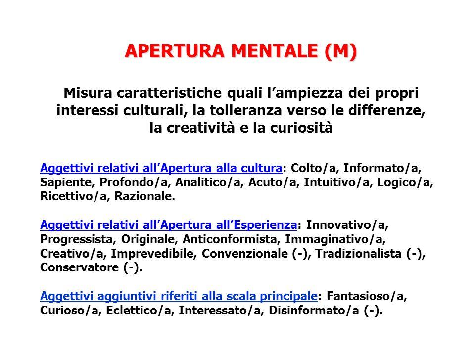 APERTURA MENTALE (M) APERTURA MENTALE (M) Misura caratteristiche quali lampiezza dei propri interessi culturali, la tolleranza verso le differenze, la creatività e la curiosità Aggettivi relativi allApertura alla cultura: Colto/a, Informato/a, Sapiente, Profondo/a, Analitico/a, Acuto/a, Intuitivo/a, Logico/a, Ricettivo/a, Razionale.