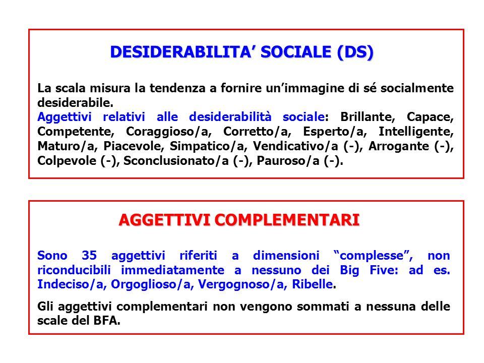 DESIDERABILITA SOCIALE (DS) La scala misura la tendenza a fornire unimmagine di sé socialmente desiderabile. Aggettivi relativi alle desiderabilità so