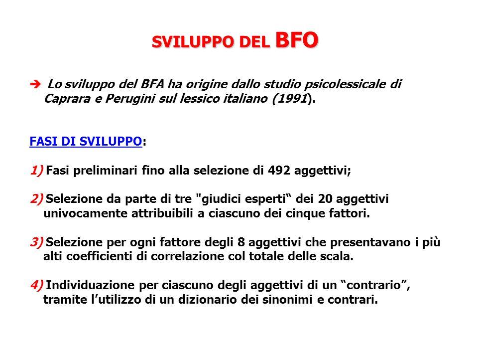 SVILUPPO DEL BFO Lo sviluppo del BFA ha origine dallo studio psicolessicale di Caprara e Perugini sul lessico italiano (1991). FASI DI SVILUPPO: 1) Fa
