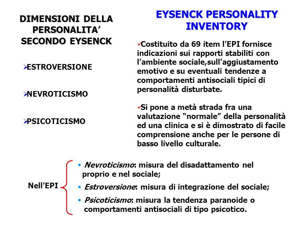 DIMENSIONI DELLA PERSONALITA SECONDO EYSENCK ESTROVERSIONE NEVROTICISMO PSICOTICISMO EYSENCK PERSONALITY INVENTORY Costituito da 69 item lEPI fornisce