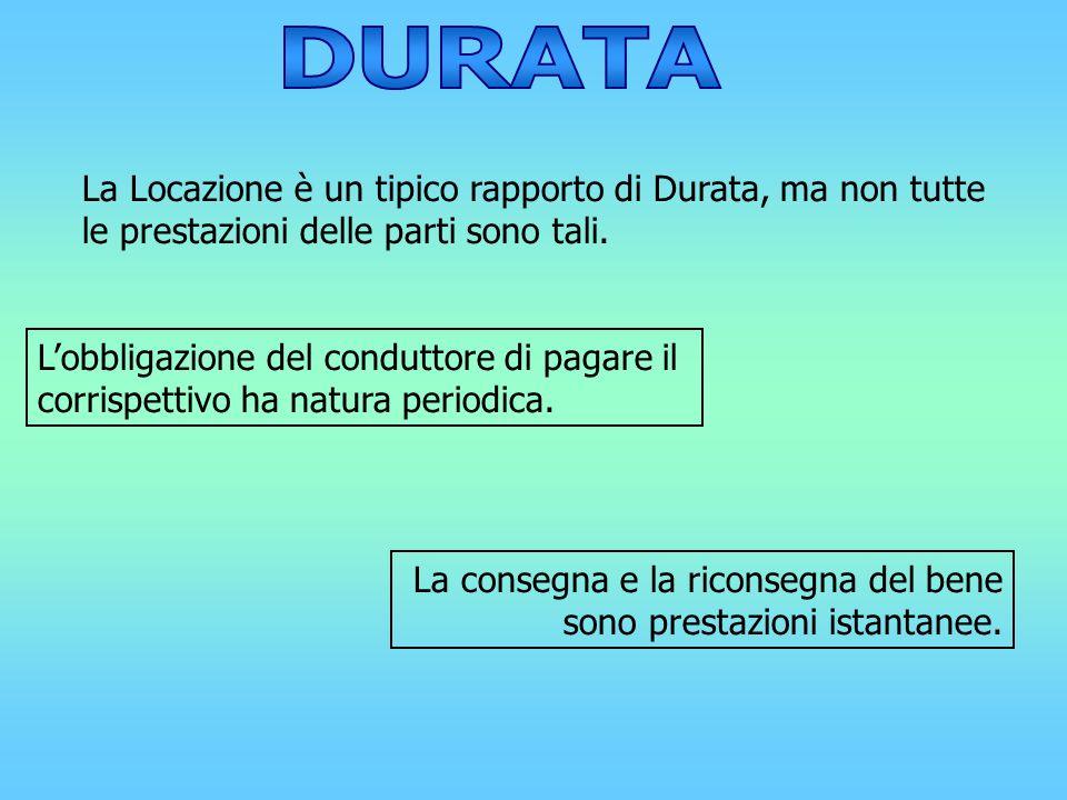 La Locazione è un tipico rapporto di Durata, ma non tutte le prestazioni delle parti sono tali. Lobbligazione del conduttore di pagare il corrispettiv