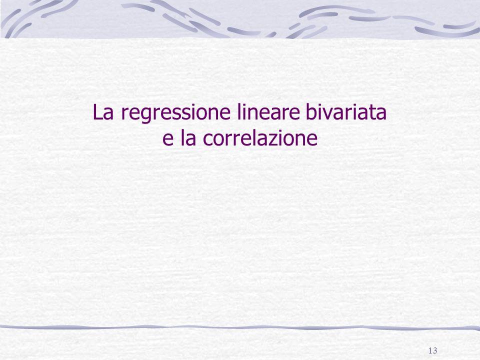 13 La regressione lineare bivariata e la correlazione