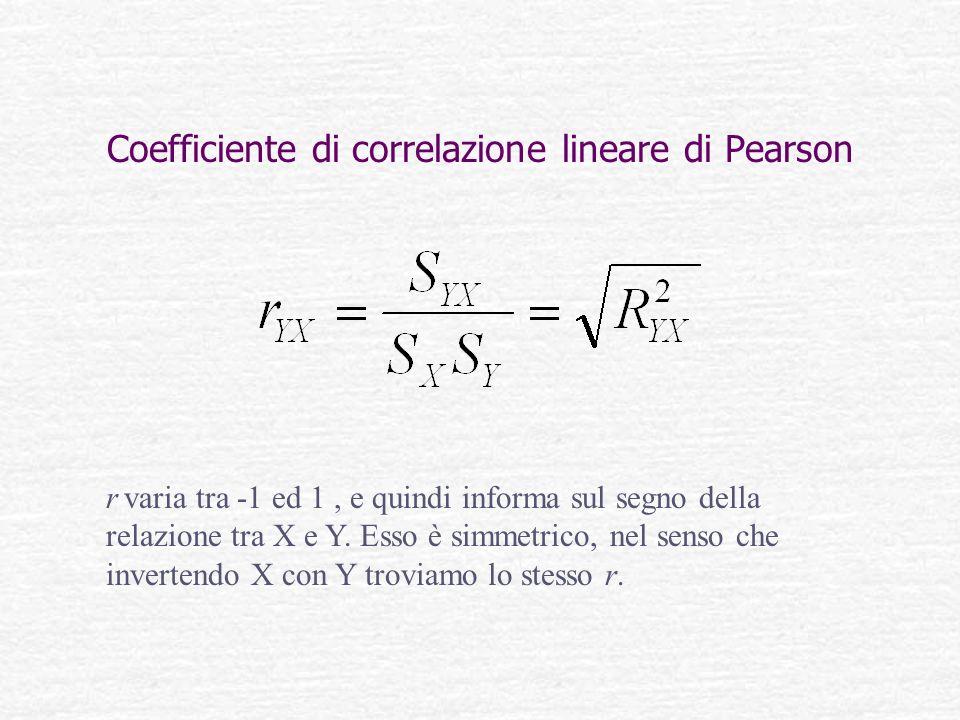 Coefficiente di correlazione lineare di Pearson r varia tra -1 ed 1, e quindi informa sul segno della relazione tra X e Y. Esso è simmetrico, nel sens