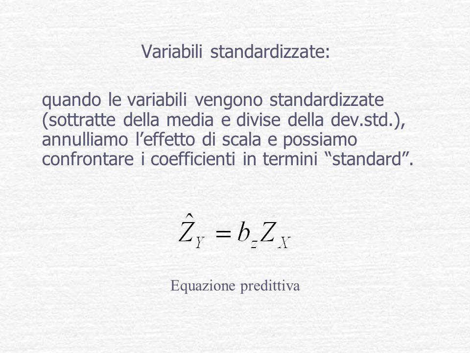 Variabili standardizzate: quando le variabili vengono standardizzate (sottratte della media e divise della dev.std.), annulliamo leffetto di scala e p