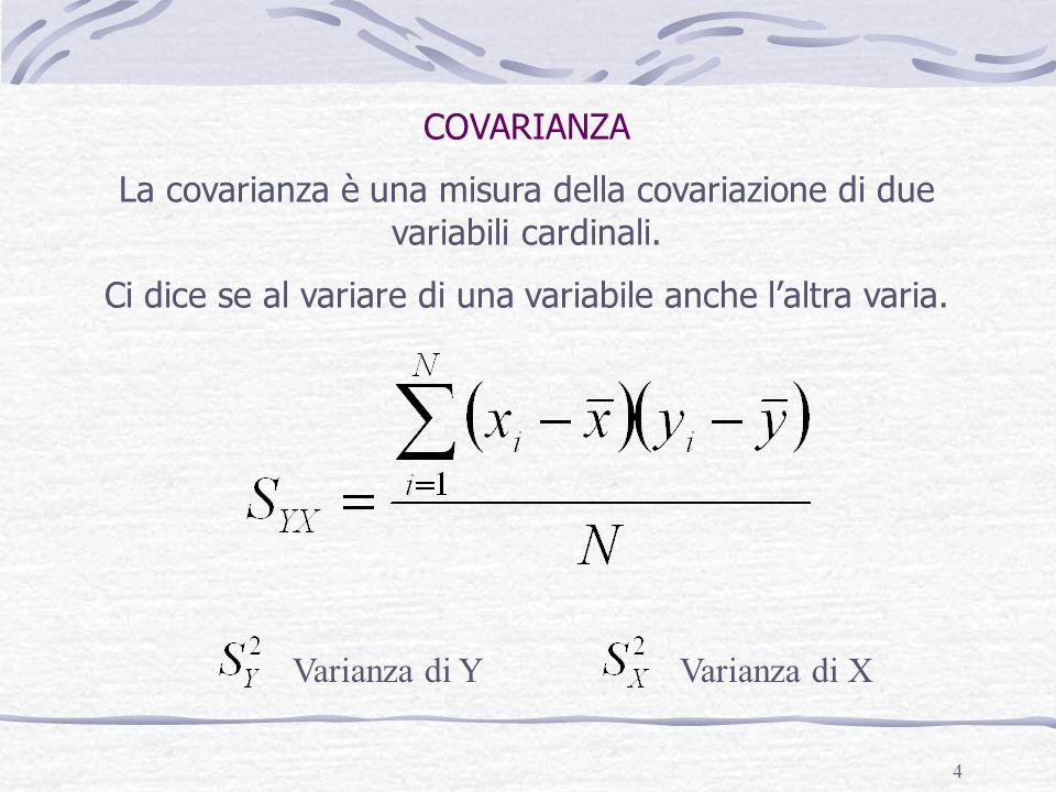 4 COVARIANZA La covarianza è una misura della covariazione di due variabili cardinali. Ci dice se al variare di una variabile anche laltra varia. Vari