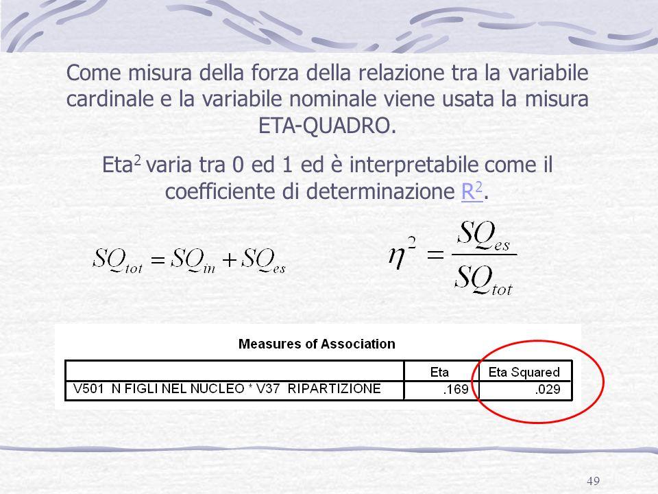 49 Come misura della forza della relazione tra la variabile cardinale e la variabile nominale viene usata la misura ETA-QUADRO. Eta 2 varia tra 0 ed 1