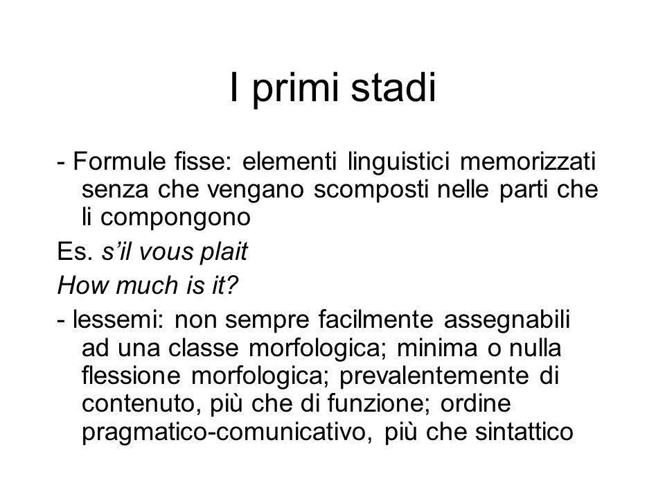I primi stadi - Formule fisse: elementi linguistici memorizzati senza che vengano scomposti nelle parti che li compongono Es. sil vous plait How much