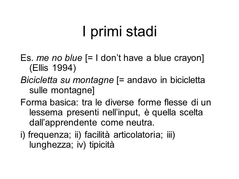 I primi stadi Es. me no blue [= I dont have a blue crayon] (Ellis 1994) Bicicletta su montagne [= andavo in bicicletta sulle montagne] Forma basica: t