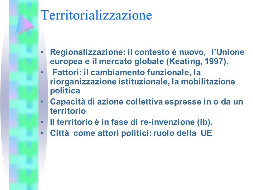 Territorializzazione Regionalizzazione: il contesto è nuovo, lUnione europea e il mercato globale (Keating, 1997). Fattori: il cambiamento funzionale,