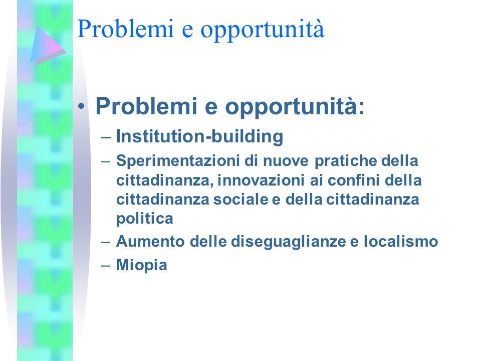 Problemi e opportunità Problemi e opportunità: –Institution-building –Sperimentazioni di nuove pratiche della cittadinanza, innovazioni ai confini del