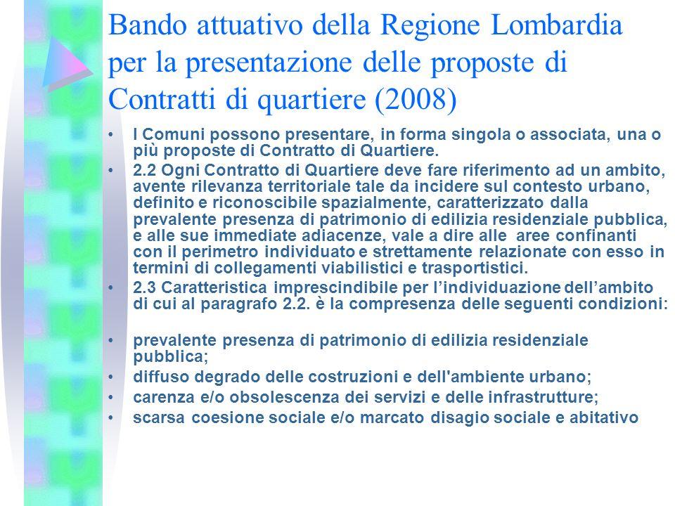 Bando attuativo della Regione Lombardia per la presentazione delle proposte di Contratti di quartiere (2008) I Comuni possono presentare, in forma sin