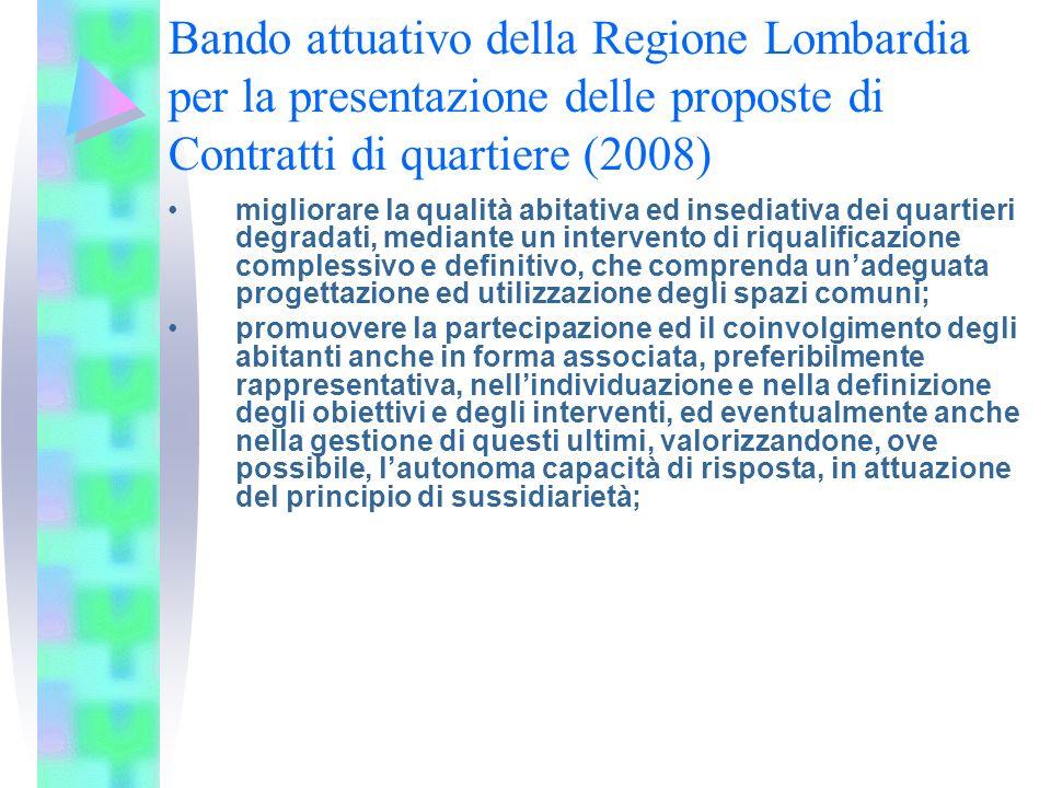 Bando attuativo della Regione Lombardia per la presentazione delle proposte di Contratti di quartiere (2008) migliorare la qualità abitativa ed insedi