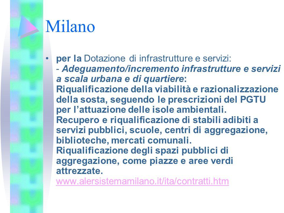 Milano per la Dotazione di infrastrutture e servizi: - Adeguamento/incremento infrastrutture e servizi a scala urbana e di quartiere: Riqualificazione