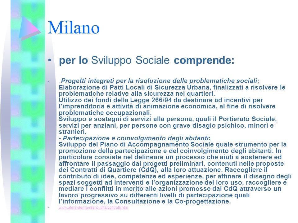Milano per lo Sviluppo Sociale comprende: - Progetti integrati per la risoluzione delle problematiche sociali: Elaborazione di Patti Locali di Sicurez