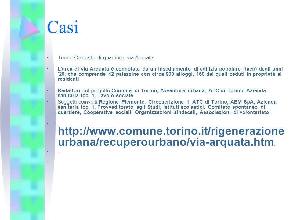 Casi Torino Contratto di quartiere: via Arquata L'area di via Arquata è connotata da un insediamento di edilizia popolare (Iacp) degli anni '20, che c