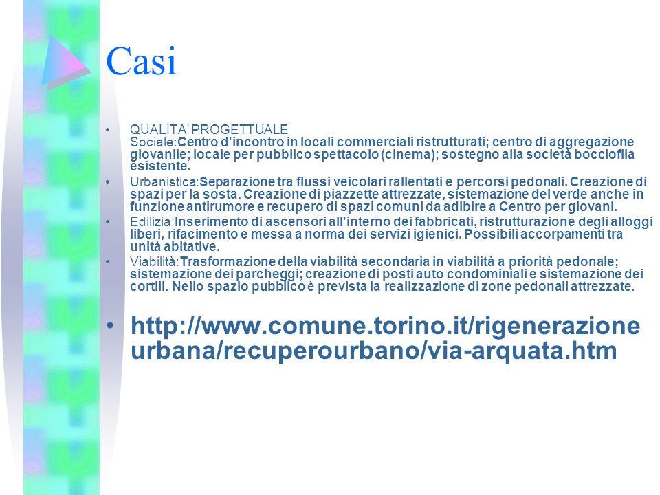 Casi QUALITA' PROGETTUALE Sociale:Centro d'incontro in locali commerciali ristrutturati; centro di aggregazione giovanile; locale per pubblico spettac