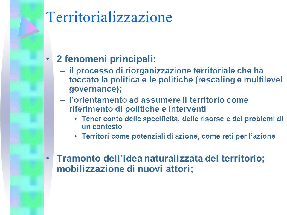 Territorializzazione Ri-territorializzazione e de-territorializzazione lo Stato moderno ha preso forma attraverso la neutralizzazione delle dinamiche localistiche e territoriali e la scala statale/nazionale è alla base della democrazia moderna (Ferrarese, 2010).
