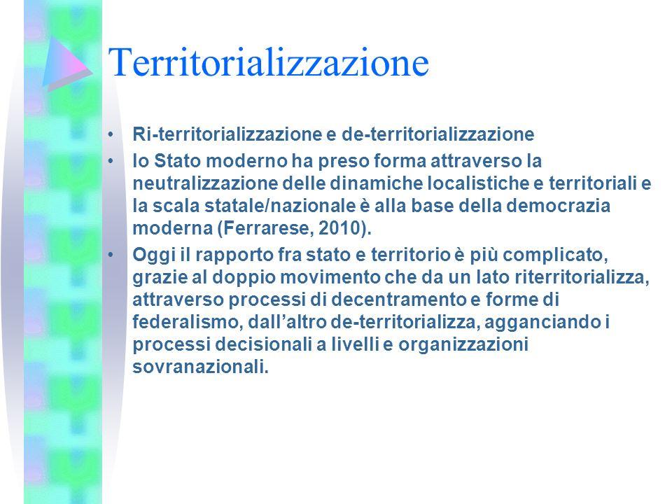 Territorializzazione Regionalizzazione: il contesto è nuovo, lUnione europea e il mercato globale (Keating, 1997).