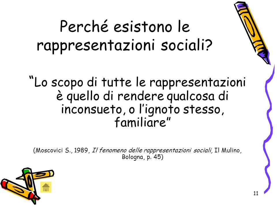 11 Perché esistono le rappresentazioni sociali.