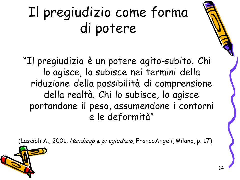14 Il pregiudizio come forma di potere Il pregiudizio è un potere agito-subito.
