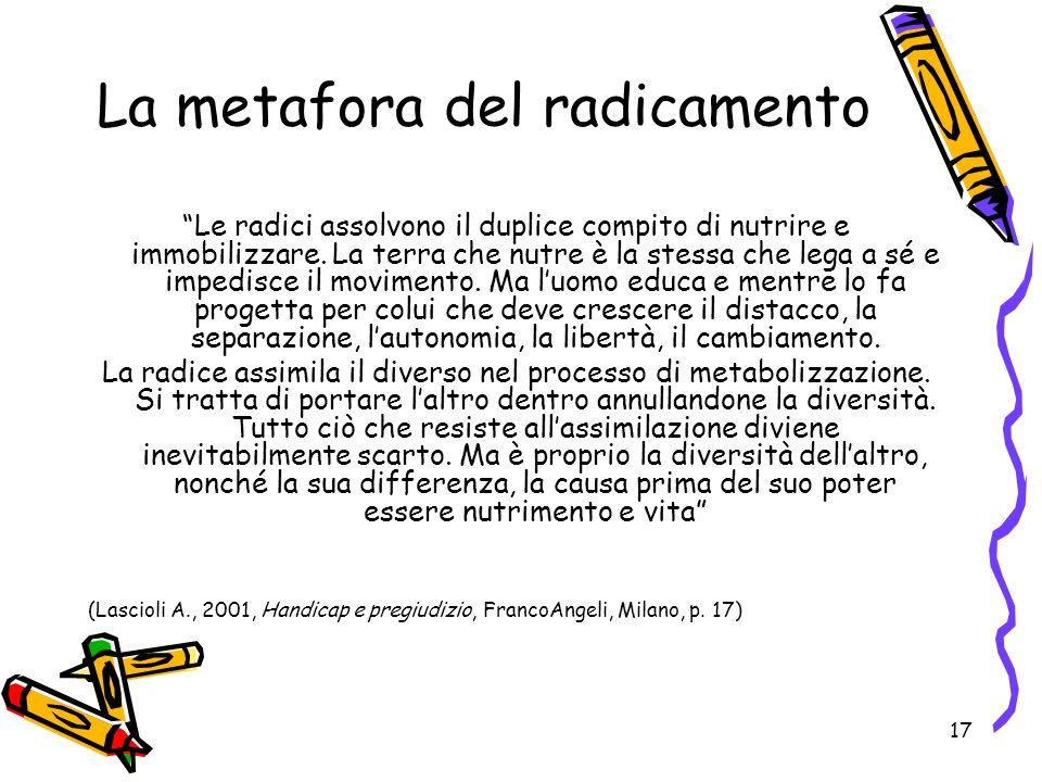 17 La metafora del radicamento Le radici assolvono il duplice compito di nutrire e immobilizzare.