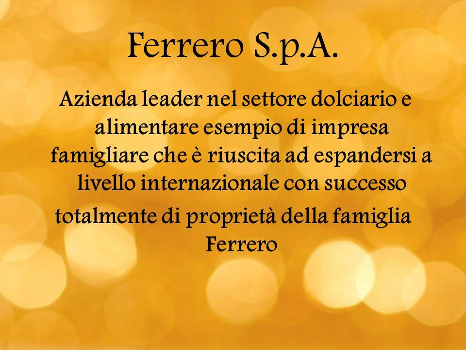 Ferrero S.p.A. Azienda leader nel settore dolciario e alimentare esempio di impresa famigliare che è riuscita ad espandersi a livello internazionale c
