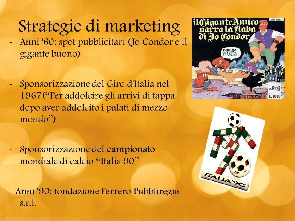 -Anni '60: spot pubblicitari (Jo Condor e il gigante buono) -Sponsorizzazione del Giro d'Italia nel 1967(Per addolcire gli arrivi di tappa dopo aver a