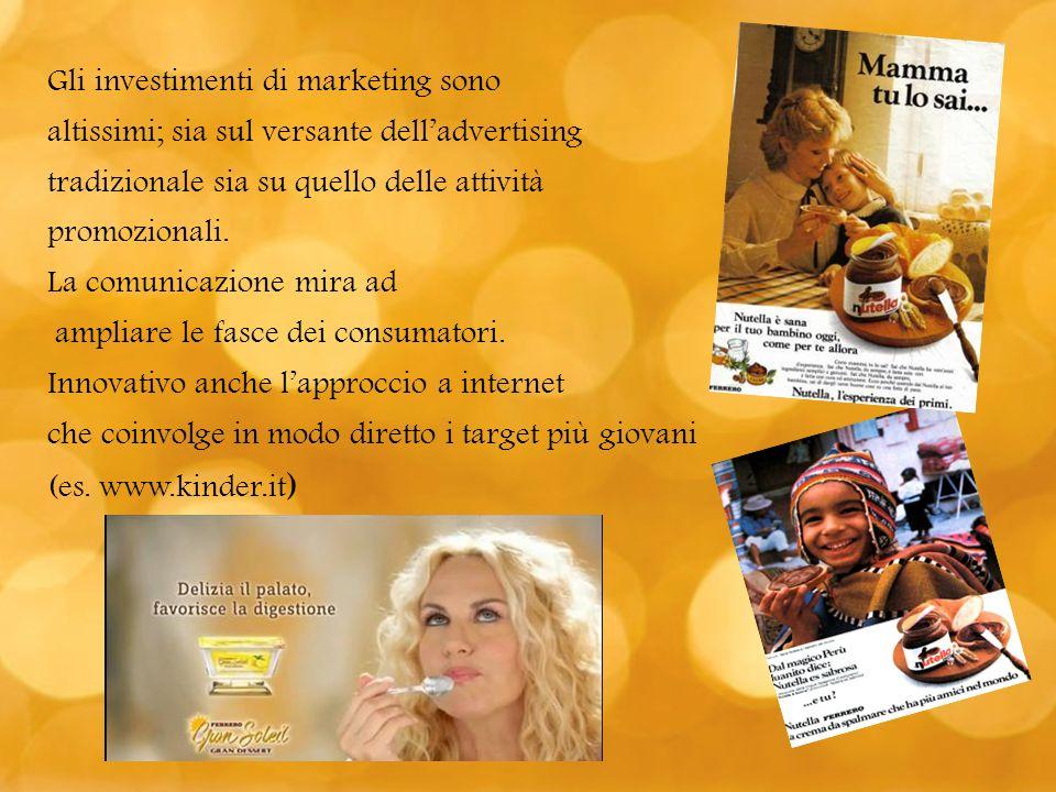 Gli investimenti di marketing sono altissimi; sia sul versante delladvertising tradizionale sia su quello delle attività promozionali. La comunicazion