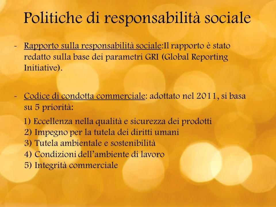 -Rapporto sulla responsabilità sociale:Il rapporto è stato redatto sulla base dei parametri GRI (Global Reporting Initiative). -Codice di condotta com