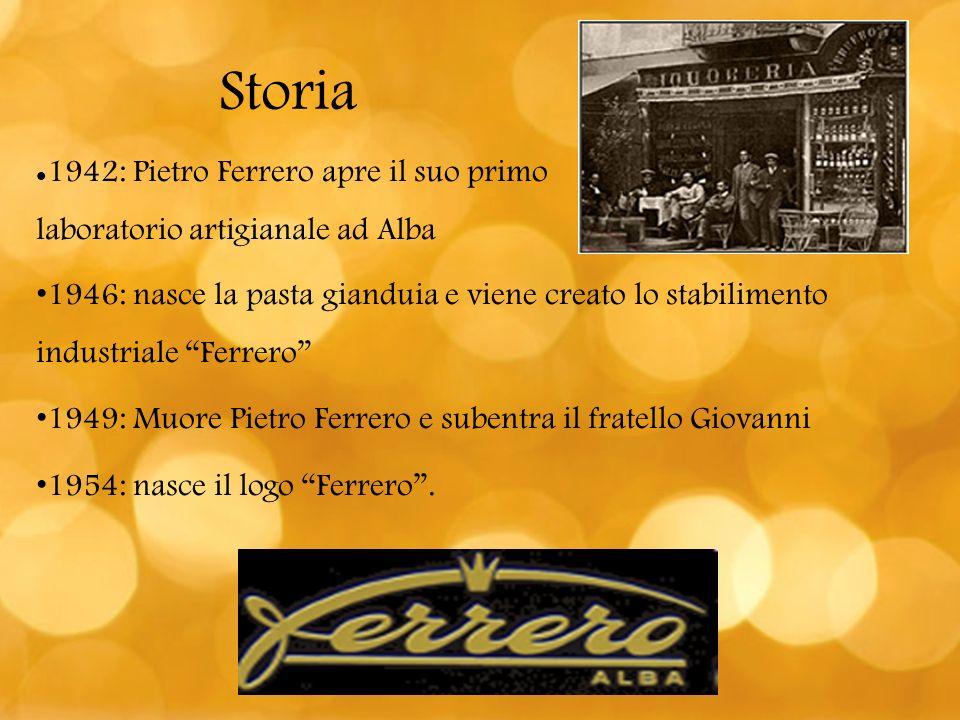 Storia 1942: Pietro Ferrero apre il suo primo laboratorio artigianale ad Alba 1946: nasce la pasta gianduia e viene creato lo stabilimento industriale