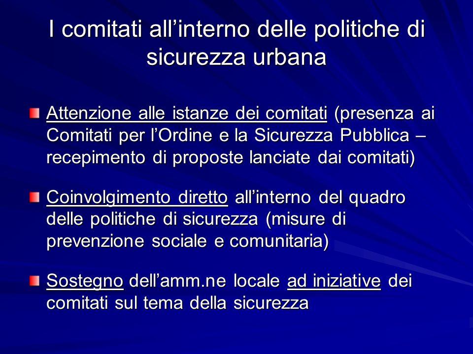 I comitati allinterno delle politiche di sicurezza urbana Attenzione alle istanze dei comitati (presenza ai Comitati per lOrdine e la Sicurezza Pubbli