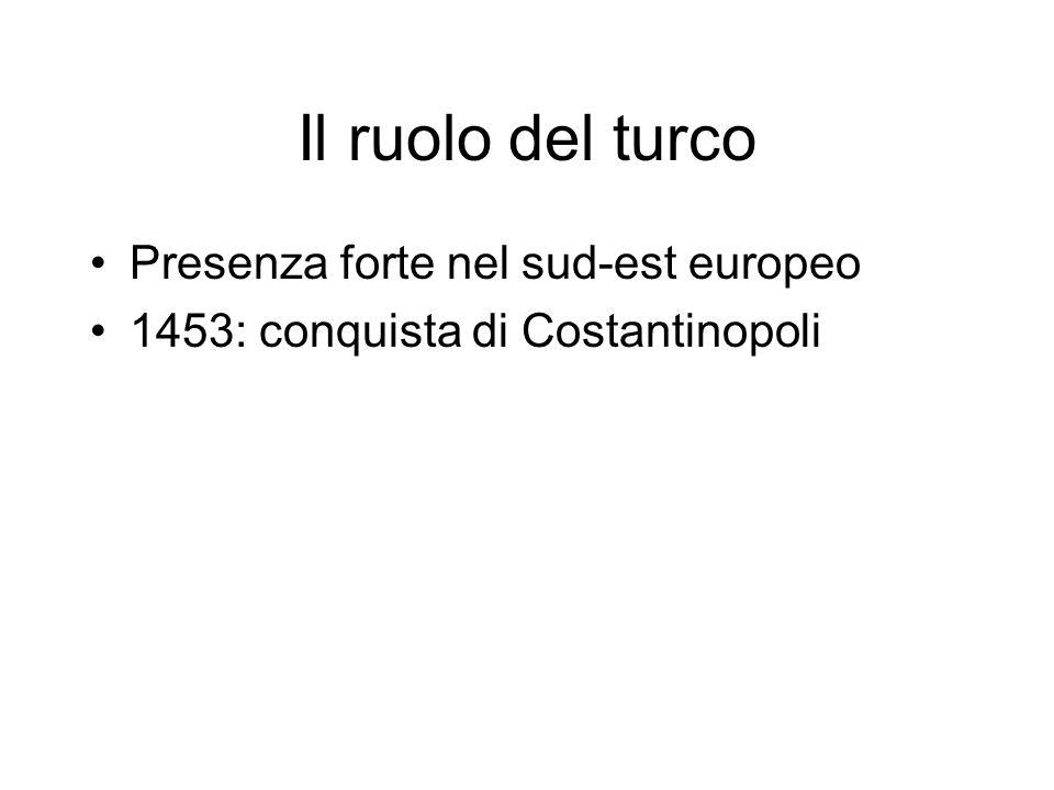 Il ruolo del turco Presenza forte nel sud-est europeo 1453: conquista di Costantinopoli