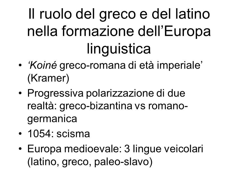 Il ruolo del greco e del latino nella formazione dellEuropa linguistica Koiné greco-romana di età imperiale (Kramer) Progressiva polarizzazione di due