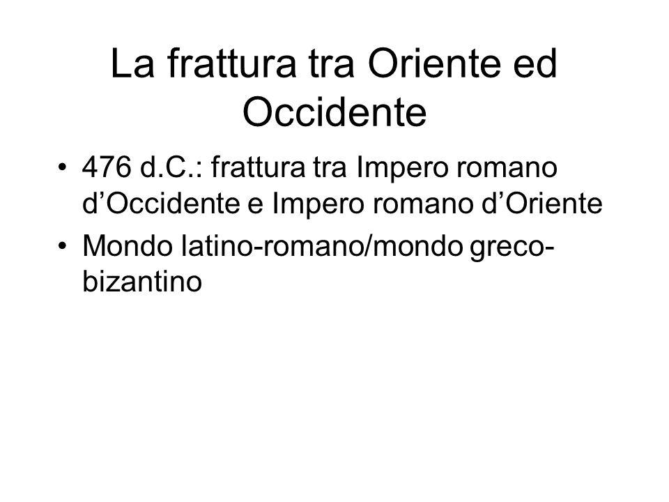 La frattura tra Oriente ed Occidente 476 d.C.: frattura tra Impero romano dOccidente e Impero romano dOriente Mondo latino-romano/mondo greco- bizanti