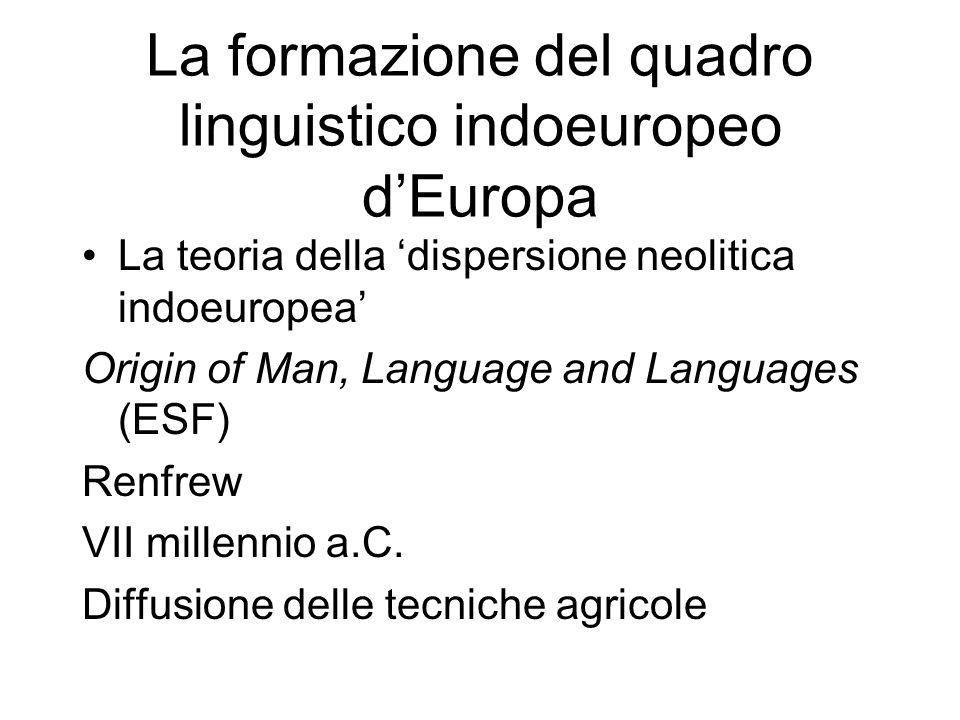 La formazione del quadro linguistico indoeuropeo dEuropa La teoria della dispersione neolitica indoeuropea Origin of Man, Language and Languages (ESF)