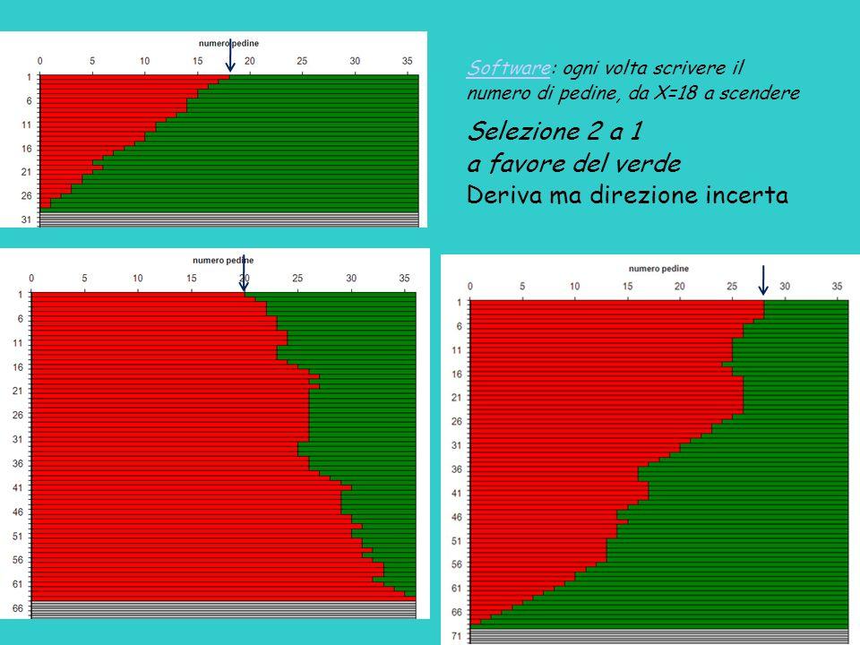 SoftwareSoftware: ogni volta scrivere il numero di pedine, da X=18 a scendere Selezione 2 a 1 a favore del verde Deriva ma direzione incerta