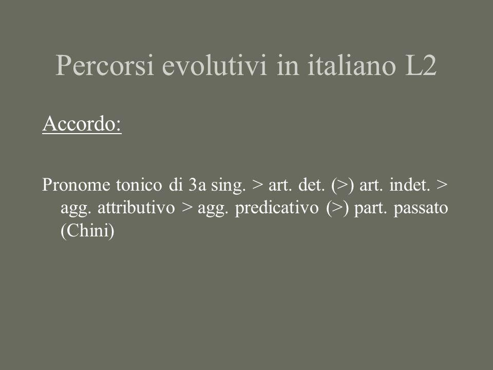 Percorsi evolutivi in italiano L2 Accordo: Pronome tonico di 3a sing. > art. det. (>) art. indet. > agg. attributivo > agg. predicativo (>) part. pass