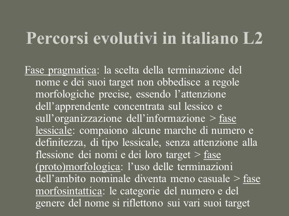 Percorsi evolutivi in italiano L2 Fase pragmatica: la scelta della terminazione del nome e dei suoi target non obbedisce a regole morfologiche precise