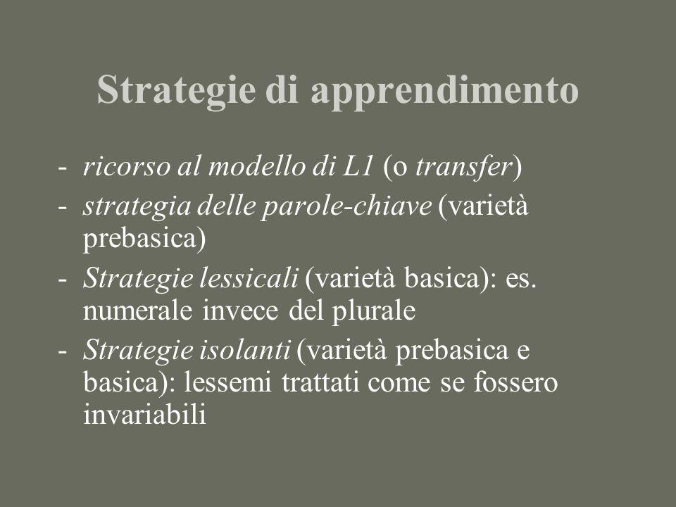 Strategie di apprendimento -ricorso al modello di L1 (o transfer) -strategia delle parole-chiave (varietà prebasica) -Strategie lessicali (varietà bas
