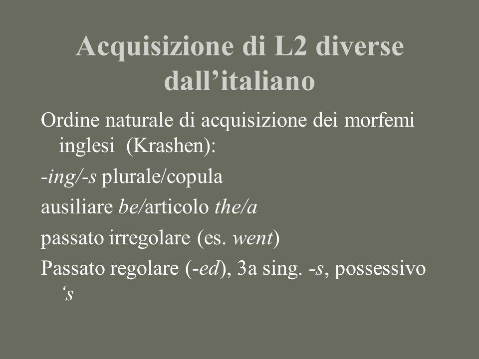 Percorsi evolutivi in italiano L2 Pronomi clitici: Sottosistema morfologico complesso, marcato Ci (+ essere) forse inanalizzato > mi dativo > mi riflessivo > si impers./passivante > si riflessivo > ti > lo flesso > nessi di clitici: me lo/te lo > ci locativale > dativi di 3a > ci/vi di 1a e 2a pl.